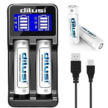 Dilusi P2 18650 Cargador Baterías AA, AAA, Ni-MH Ni-CD Li-Ion:17670, 17500, 18490, 18650, 16340 (RCR123), 14500 Li-Ion Cilíndrico Batería ...