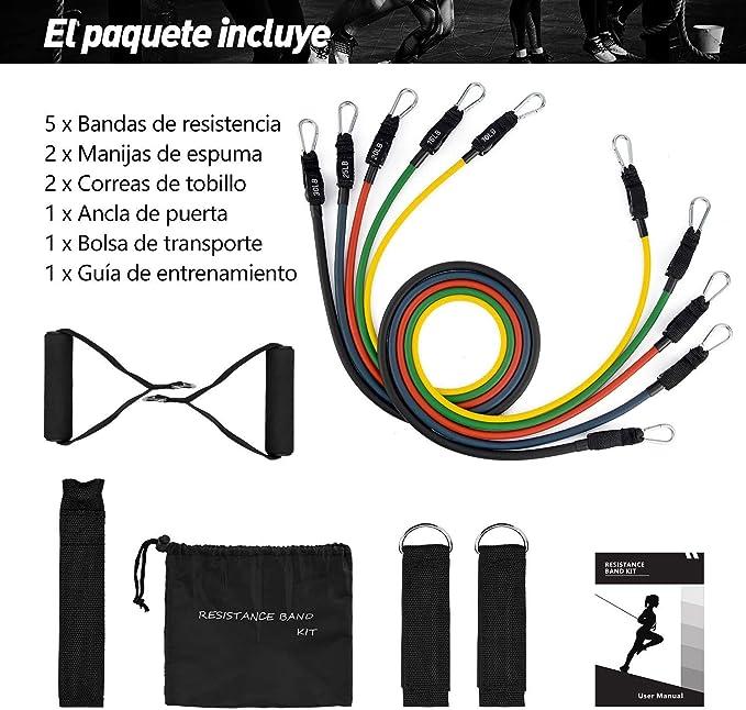 OMORC Bandas Elasticas, 12PCS Cintas Elásticas, Bandas de Resistencia Látex con Manijas, Gancho de la Puerta, Correa del Tobillo, Adecuado para ...