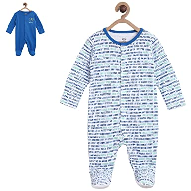 MINI KLUB Baby Boys' Regular Fit Sleepsuit (Pack of  2)(92IEBSL200_Multi_0-3M)