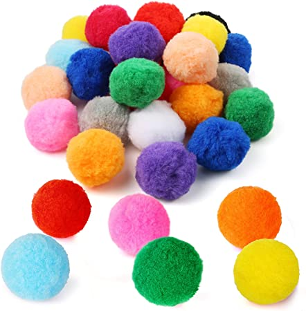 Pllieay 30pcs 6CM Fluffy Pom Poms Balls Assorted Pom Poms Arts and Crafts for DIY Creative Crafts Decorations, 15 Colors