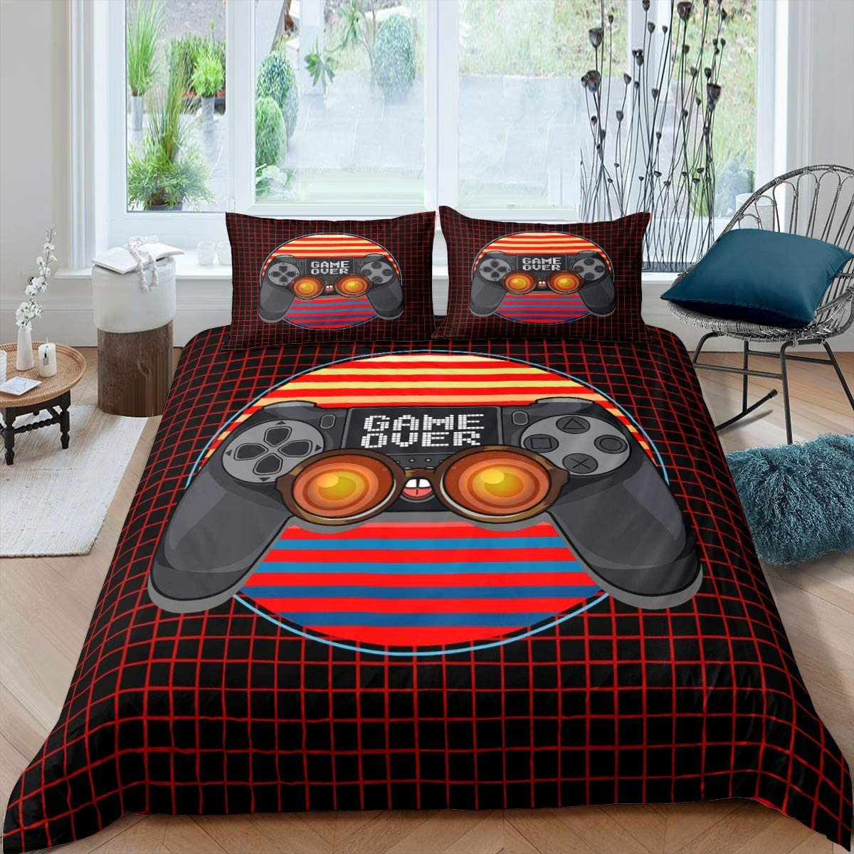 Feelyou Gamepad Print Duvet Cover for Kids Boys Girls Teens Gamer Video Game Comforter Cover Gamepad Pattern Bedding Set Youth Modern Geometric Black Red Buffalo Checked Decor Bedspread Cover