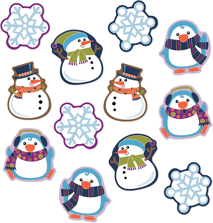 Amazon Com Carson Dellosa Winter Cutouts Penguin Snowmen Snowflake Decorations For Seasonal Bulletin Board Displays Holiday Homeschool Or Classroom Decor 36 Pc Office Products