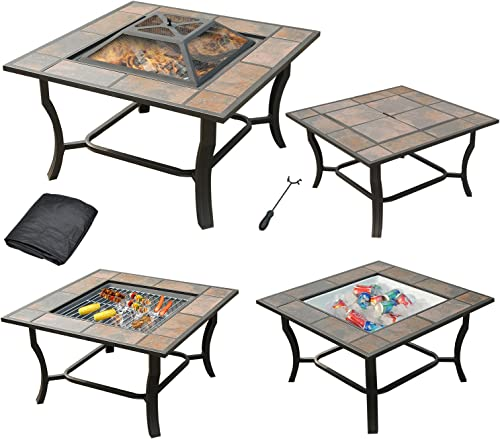 Leisurelife 4 in 1, 32 Square Tile Top Fire Pit, Grill, Cooler and Coffee Table with Cover