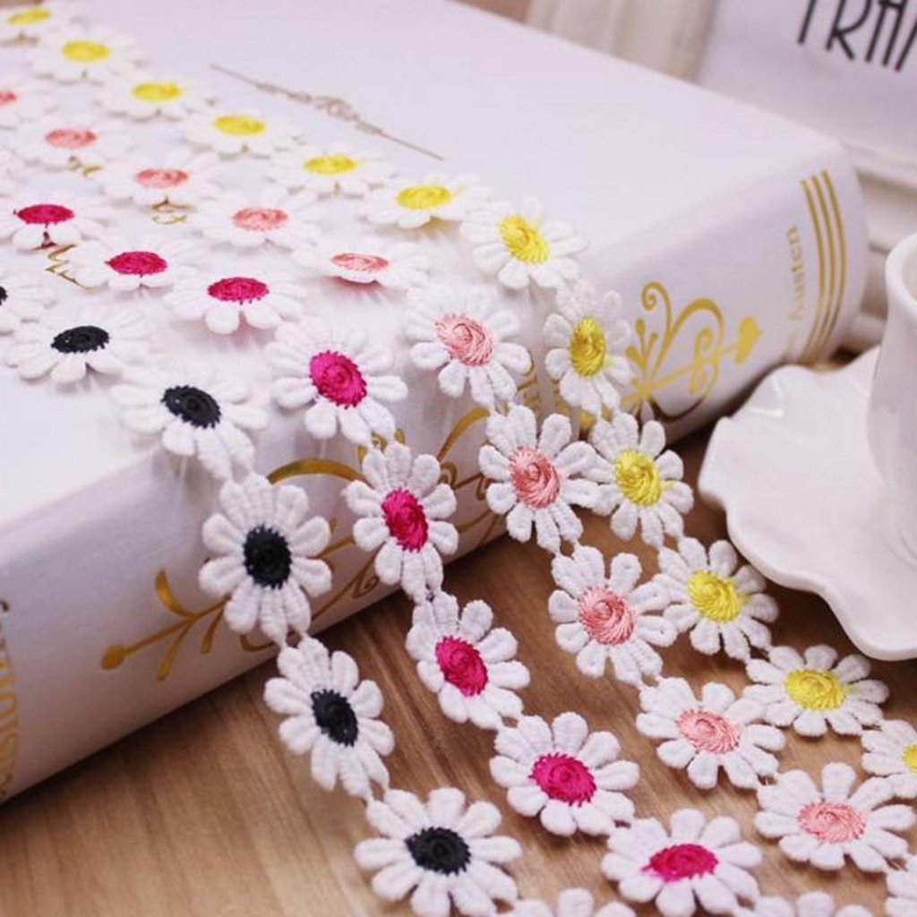 3 Yard Sewing Embellishments Morning May White /& Yellow Daisy Lace Trim Ribbon Flower Applique Sewing Dressmaking Edging Trimmings 25mm // 0.98inch
