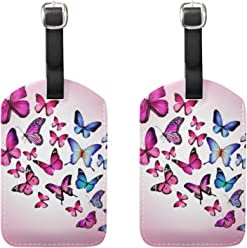 ec2eb1450b COOSUN Pink Butterflies Luggage Tags Travel Labels Tag Name Card Holder for  Baggage Suitcase Bag Backpacks