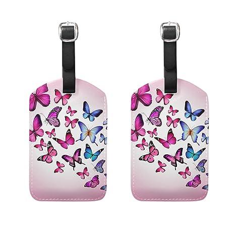 COOSUN Las Mariposas Rosadas Etiquetas de Equipaje de Viaje Etiquetas Titular Nombre de la Etiqueta Tarjeta