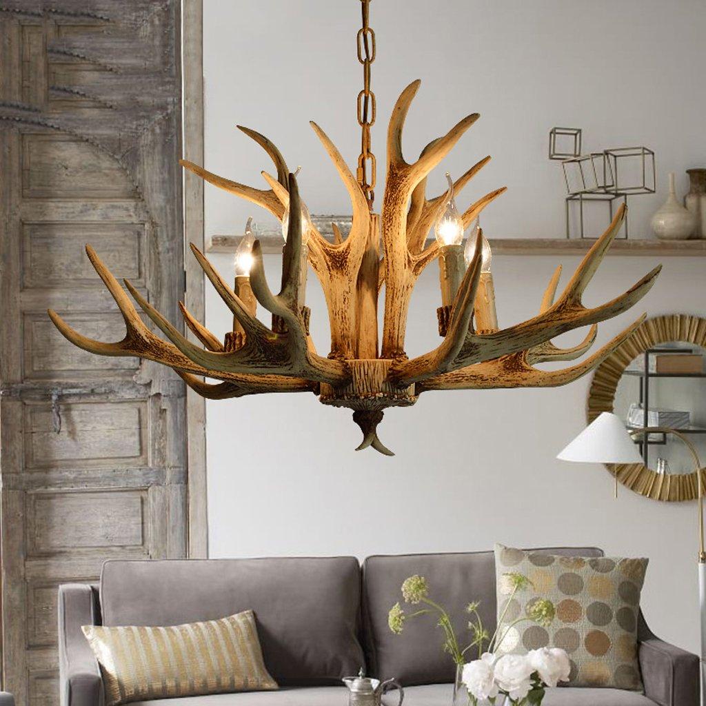 & Perfect ** - 5 Kopf - American Land Kronleuchter Nordic minimalistischen Geweih Kronleuchter retro Garten Lampen Schlafzimmer Esszimmer im europäischen Stil Wohnzimmer Kronleuchter