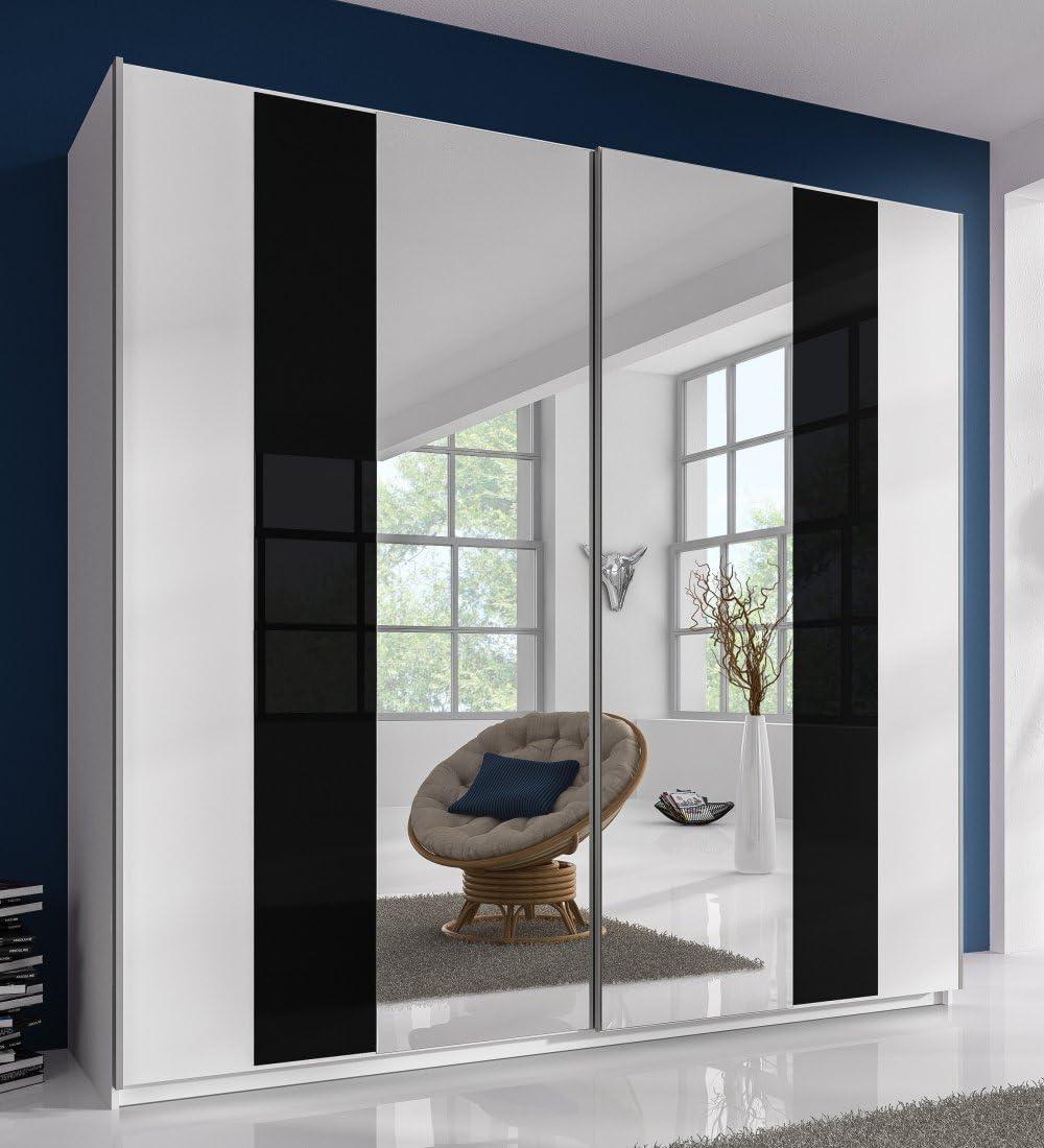 ARMARIO DE PUERTAS CORREDERAS 2-TRG. B 220 cm espejo de cristal negro dormitorio blanco, nuevo: Amazon.es: Hogar