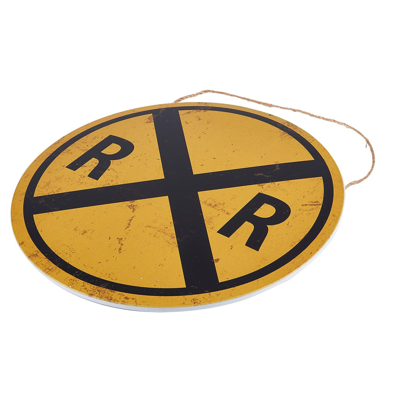 Party and Home Interior Decoration Restaurans 11.8 x 11.8 Inches Juvale Rail Road Crossing Symbol Sign Metal Tin Traffic Sign Wall Decor Perfect Cafes
