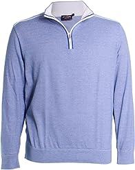 21e19282b2e281 PAUL & SHARK Micro Stripe Quarter Zip Sweater in Light Blue