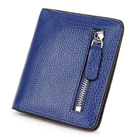 DcSpring RFID Cartera Pequeñas Piel Genuino Monedero Slim Tarjetero de Crédito Mini Cremallera para Mujer (Azul)