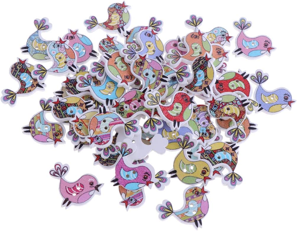 Bear 50 Pieces Wooden Buttons 2-Hole Cartoon Animal Buttons for DIY Sewing Scrapbooking