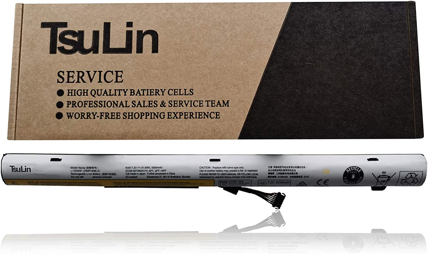 TsuLin L13S4E61 Laptop Battery Replacement for Lenovo M50-70 Flex 2-14 2-14D 2-15 2-15D Series Notebook L13L4E61 L13M4E61 L13S4A61 L13L4A61 L13M4A61 7.2V 41.6Wh 5800mAh