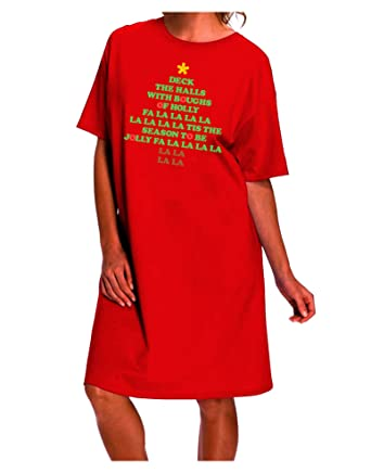 amazoncom tooloud deck the halls lyrics christmas tree dark night shirt dress red one size clothing