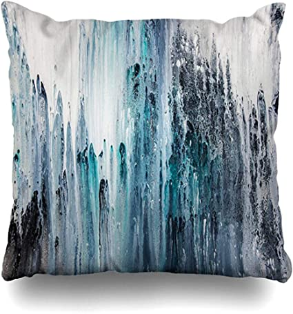 N A Throw Pillow Cover Square Dynamic Melt Ink Grey Blue Bled Template White Rainy Abstract Painting On Fine Color Canvas Acylic Pillowcase Amazon Co Uk Kitchen Home