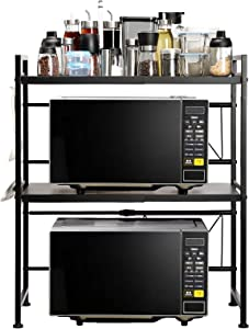 AbocoFur Expandable and Height Adjustable Microwave Oven Rack, 3-Tier Metal Kitchen Counter Toaster and Rice Cooker Stand, Heavy Duty Tableware Storage Shelf with 3 Hooks, 15.7