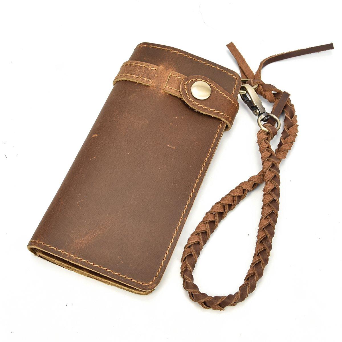 Echtes Leder lange Brieftasche mit Reißverschluss Tasche Vintage Bifold Scheckheft Geldbörse (Embossed Dragon) RwjtH