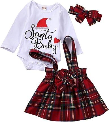 Plaid Skirts Newbaby Baby Girls Santa Romper Bodysuit Headband Christmas Clothing Sets
