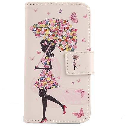 Lankashi PU Flip Leder Tasche Hülle Case Cover Handytasche Schutzhülle Etui Skin Für Alcatel One Touch Pop C7 7041D Umbrella