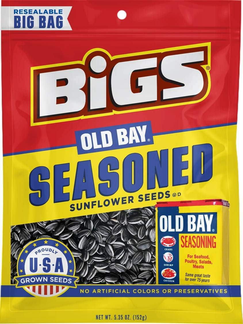 Bigs Old Bay Catch of the Day Seasoned Sunflower Seeds, 5.35 Ounce -- 48 per case.