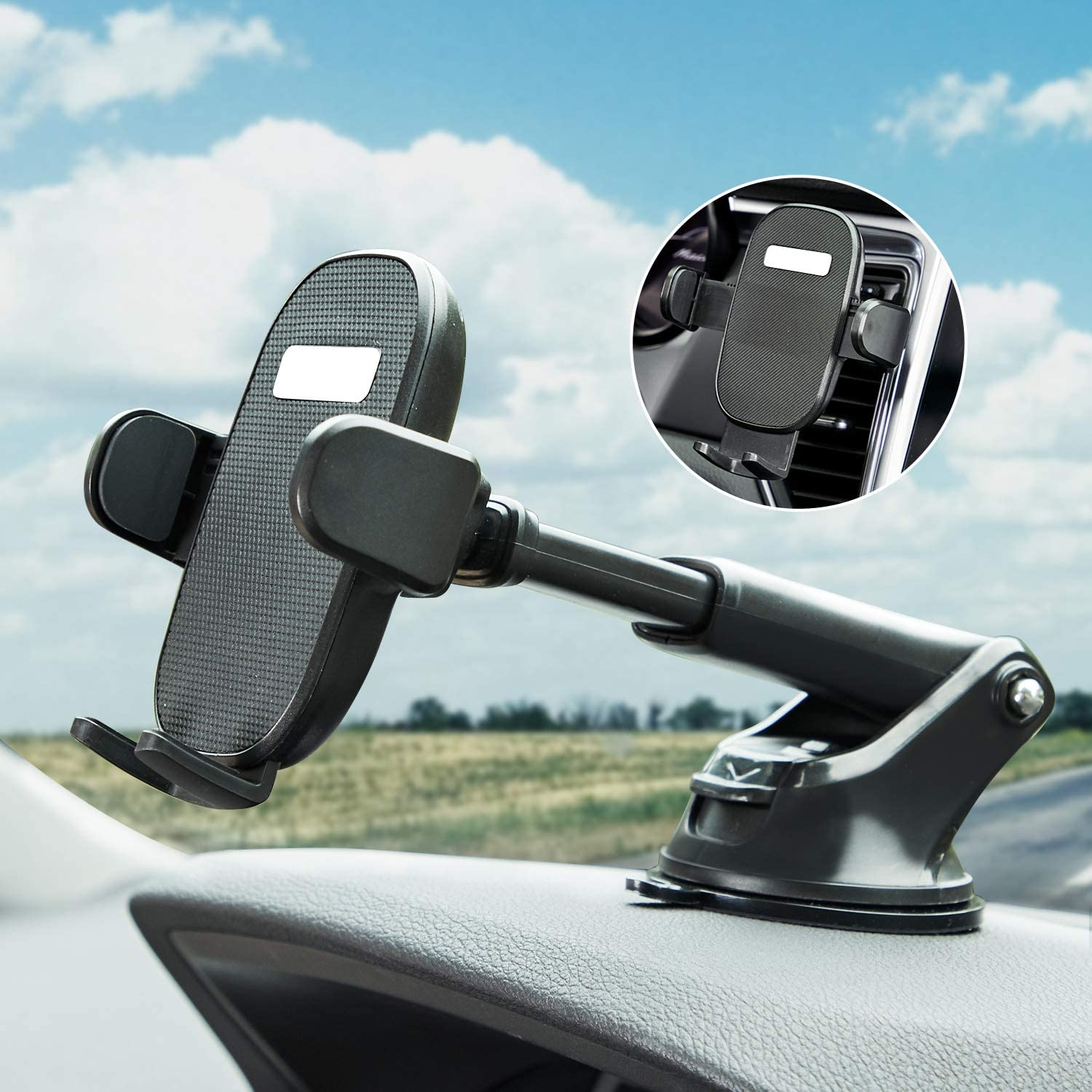 Car Phone Mount OQTIQ Universal Dashboard /& Windshield Suction Cup Car Phone Mount with Washable Strong Sticky Gel Pad and Car Vent Clip