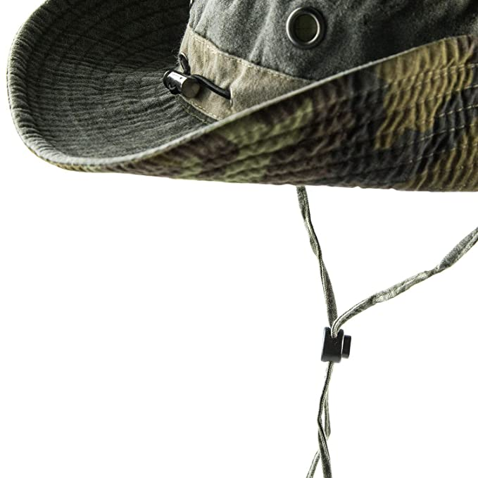 c446614e0 HH HOFNEN Fishing Sun Boonie Hat Wide Brim Breathable Washed Cotton Outdoor  Hunting Safari Bucket Hat for Men Women