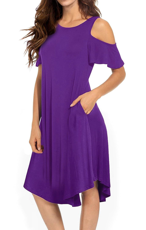 VERABENDI Womens Cold Shoulder Midi Dress Short Sleeve Swing Dress with Pockets