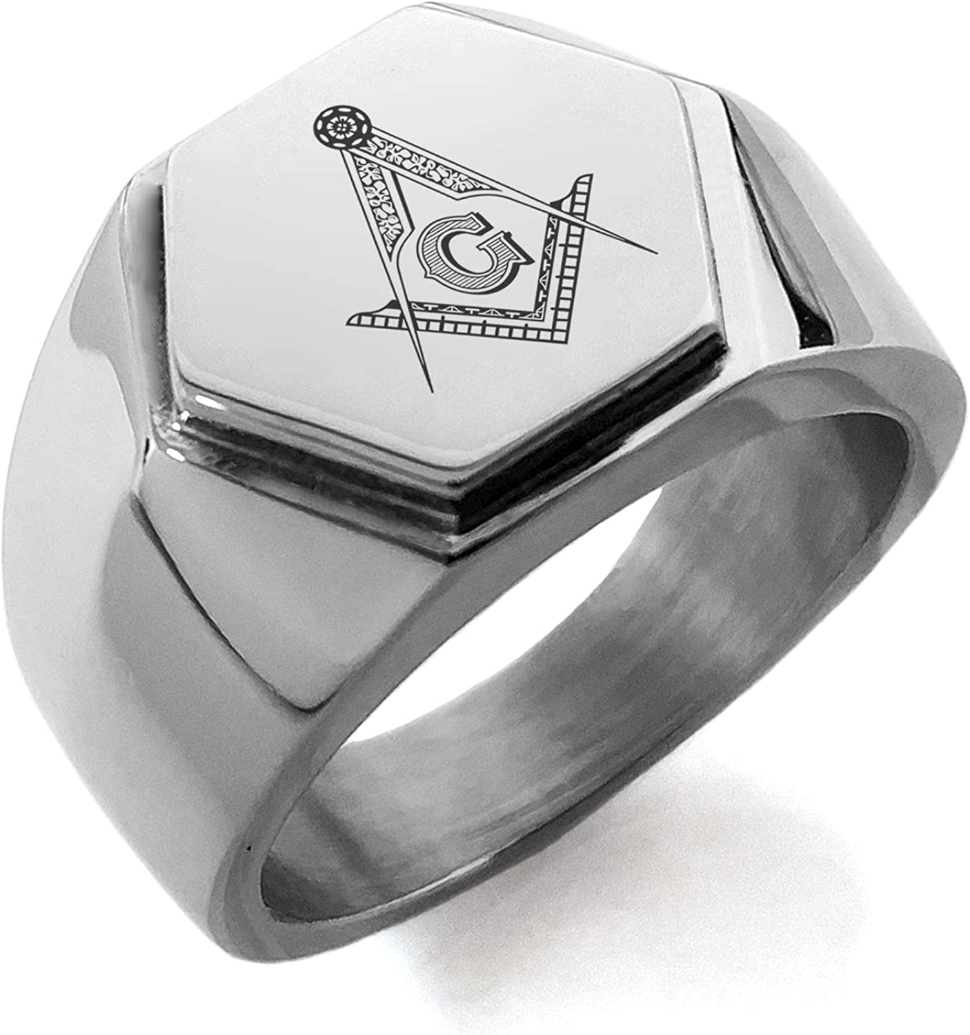Stainless Steel Freemasons Masonic Compass Hexagon Crest Flat Top Biker Style Polished Ring