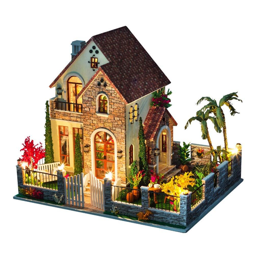 3D Wooden DIY Miniature House Furniture LED House Puzzle Decorate Creative