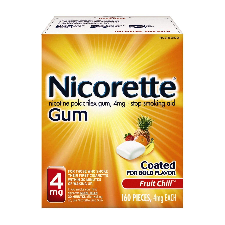 Nicorette Nicotine Gum, 4 mg, Fruit Chill 160 Count