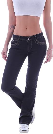 ad0ab18fbd1d Style-Station Damen Hose Bootcut Jeans Hüftjeans Schlaghose ...
