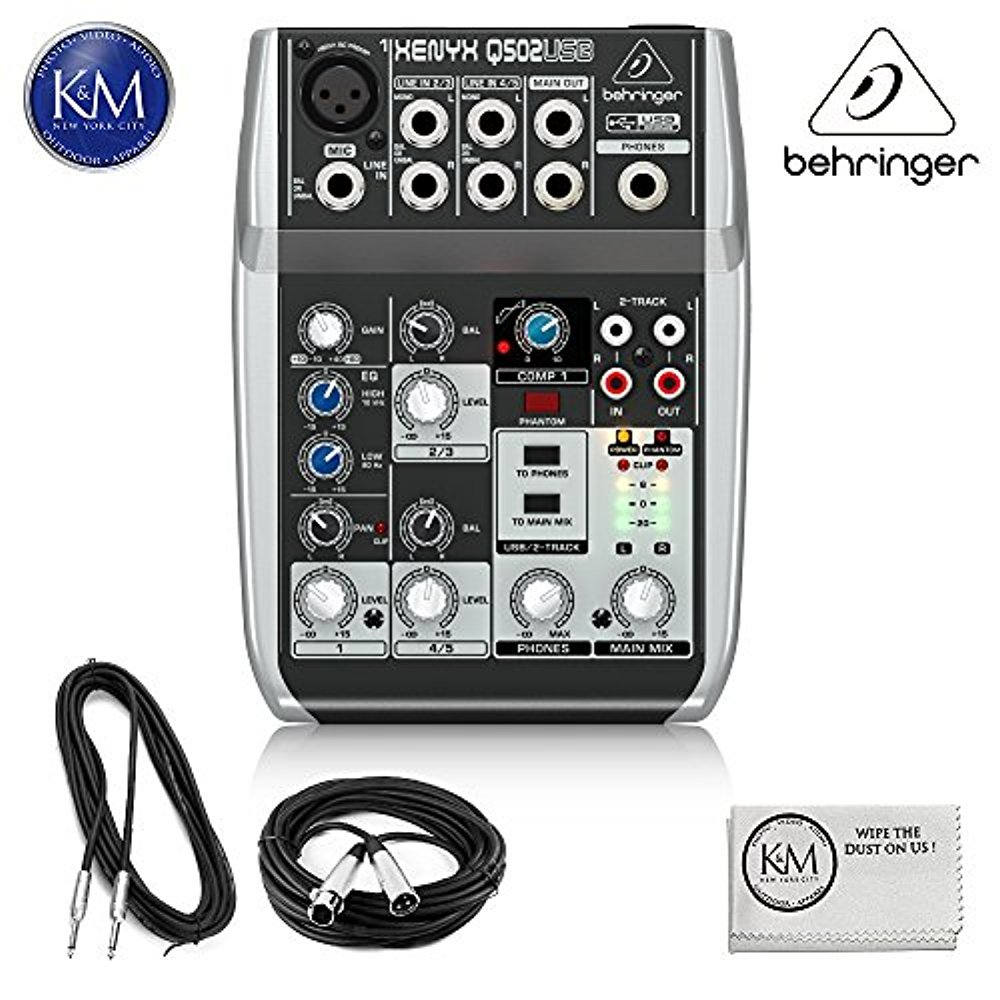 Behringer XENYX 502 5-Channel Compact Audio Mixer + 1 x 20ft Structure XLR Cable + 1 x 18.6 ft Strukture Instrument Cable + K&M Micro Fiber Cloth Bundle