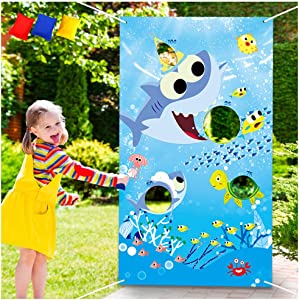 Shark Toss Games with 3 Been Bag Little Shark Party Supplies Been Bag Toss Games Party Games for Kids and Adults in Under the Sea, Shark Theme party, Baby Shower, Kids' Birthday Party, Summer Pool Party, Classroom Game