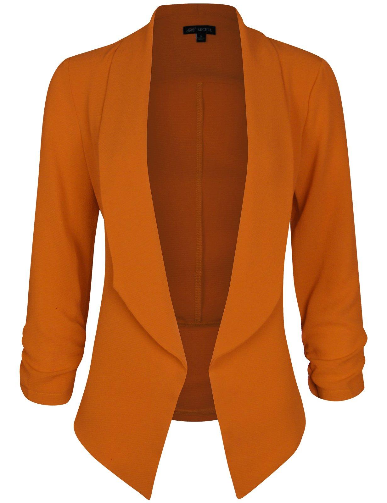 Michel Women's 3/4 Sleeve Blazer Casual Open Front Cardian Jacket Work Office Blazer Camel Small
