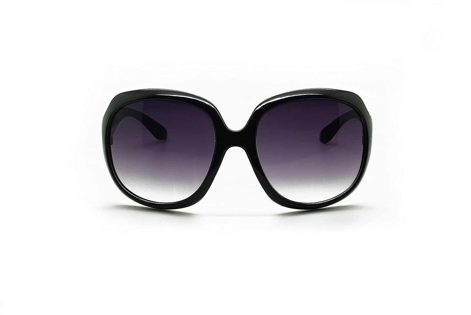 ASVP Shop® New Women's Fashion Sunglasses with Stylish Large Frame Round Vintage/Retro 70's Design and 100% UV400 Protection in Black Frame with Purple Lenses