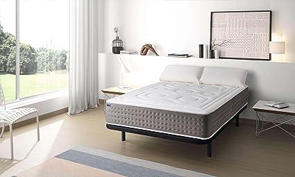 MAXCOLCHON Pack Colchon Luxe-Grafeno + Almohada + Base tapizada 180x200