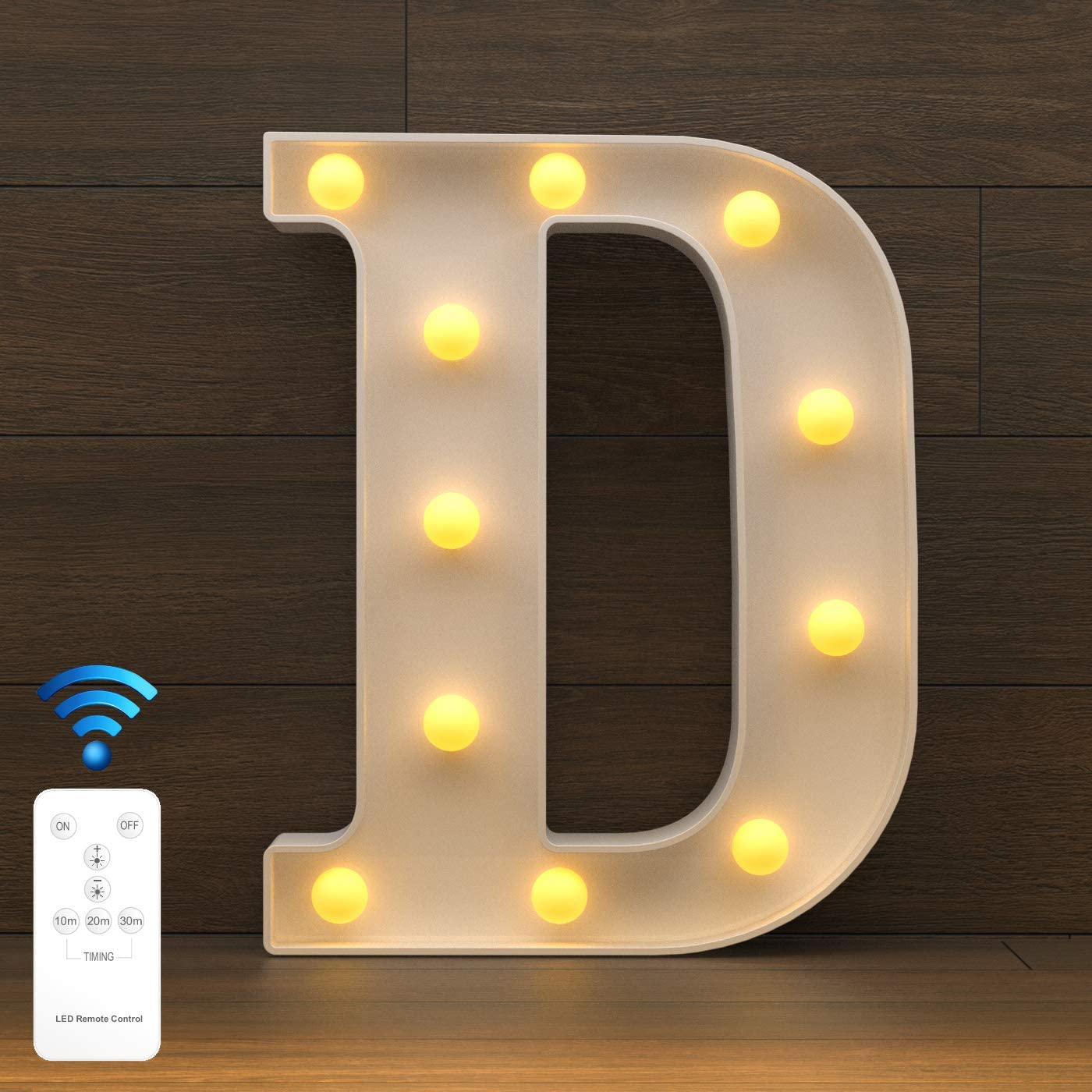 YOUZONE Newly Upgrade LED Letter Lights Marquee Alphabet Light Up Letters with Remote Control Timer Dimmable Battery Powered for Events Wedding Party Birthday Home Bar Decoration (RC-D)