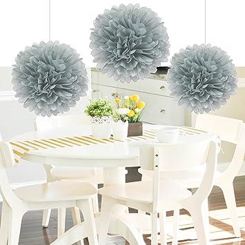 8er Pompoms Grau Farbe Tissue Papier Pom Poms Blumenbälle Papier Handwerk  Papier Blume Hängen Pom Hochzeitsfeier