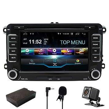 SWTNVIN Android 9.0 Unidad de Audio estéreo para Volkswagen Skoda DVD Pantalla táctil HD de 7 Pulgadas navegación GPS con Control de Volante Bluetooth ...