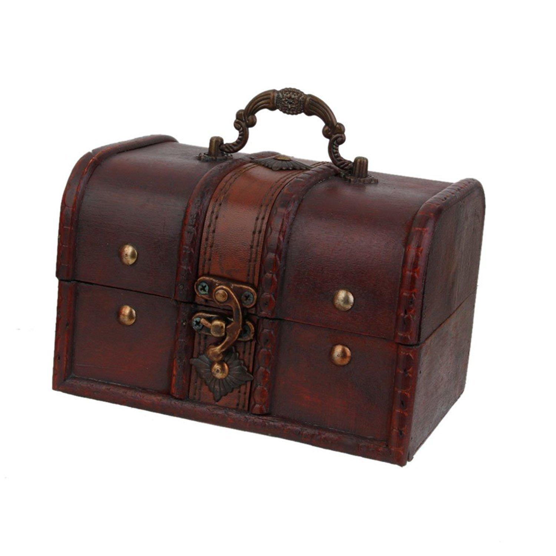 MonkeyJack 2pcs Retro Wooden Lock Treasure Chest Jewelry Storage Box Container Holder