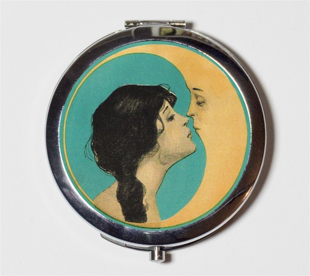 Man in the Moon Compact Mirror Kiss Kissing Romance Art Nouveau Pocket Size for Makeup Cosmetics