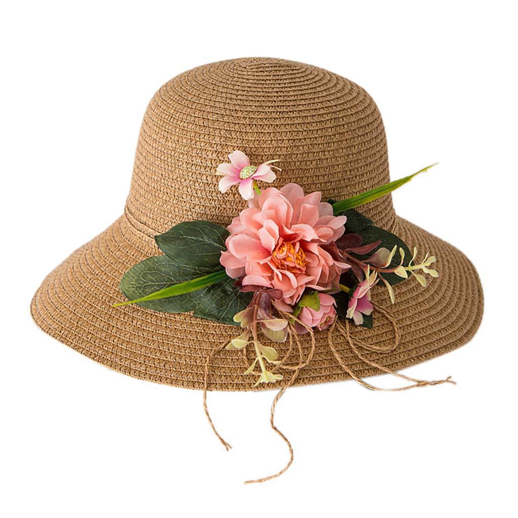 HEETEY Summer Baby Flower Breathable Hat Straw Sun Hat Kids Hat Boy Girls Hats Straw Hat Flower Visor Beach Hat Basin Cap for Girls//Boys Children Spring Cap