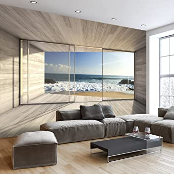murando - Fototapete Meer Fenster 350x256 cm - Vlies Tapete ...