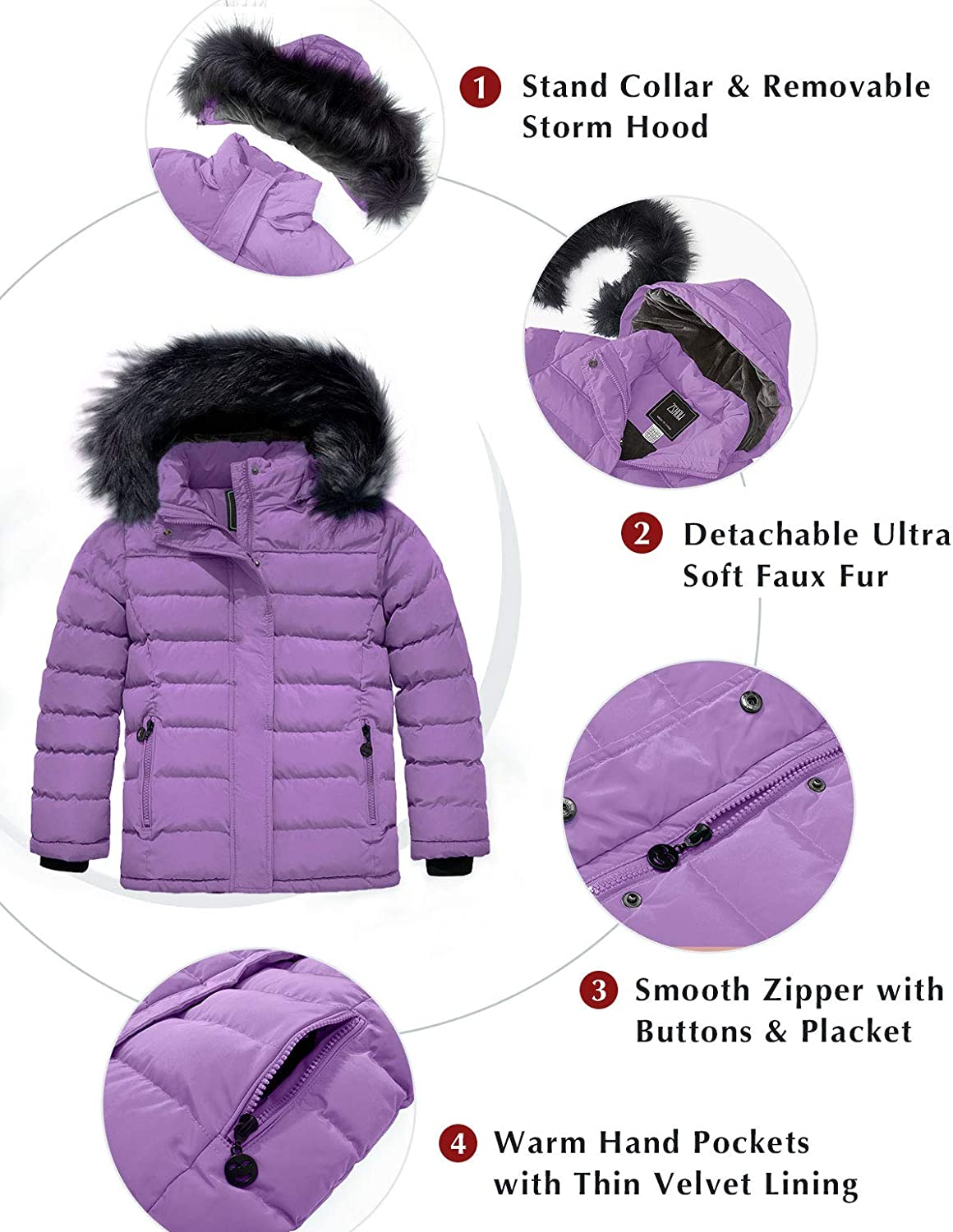 ZSHOW Girls Water Resistant Puffer Jacket Soft Fleece Lined Padded Hooded Winter Coat