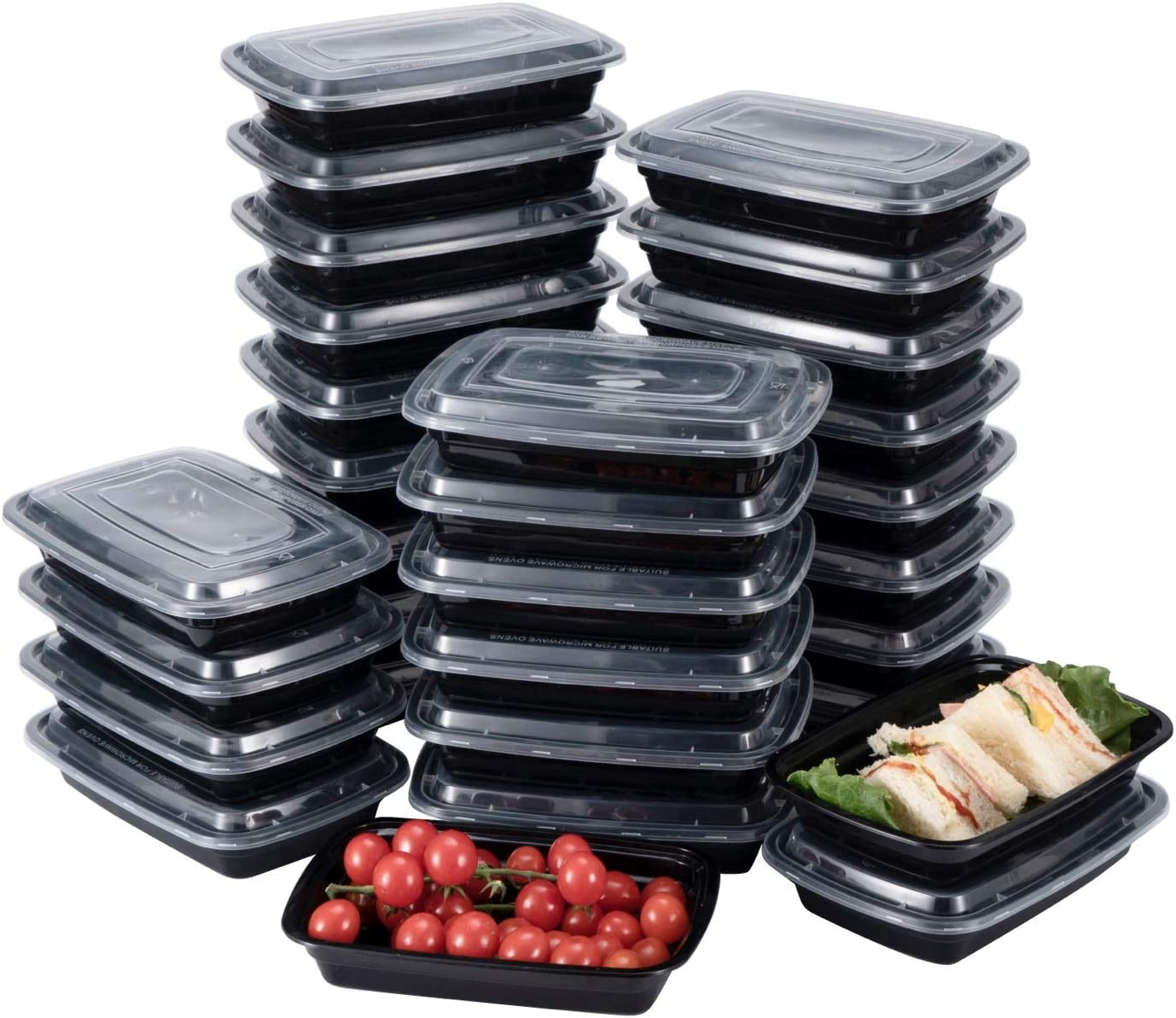 Bento BoxMeal Prep Containers [30 Pack] 1 Compartment with Lids, Food Storage Containers