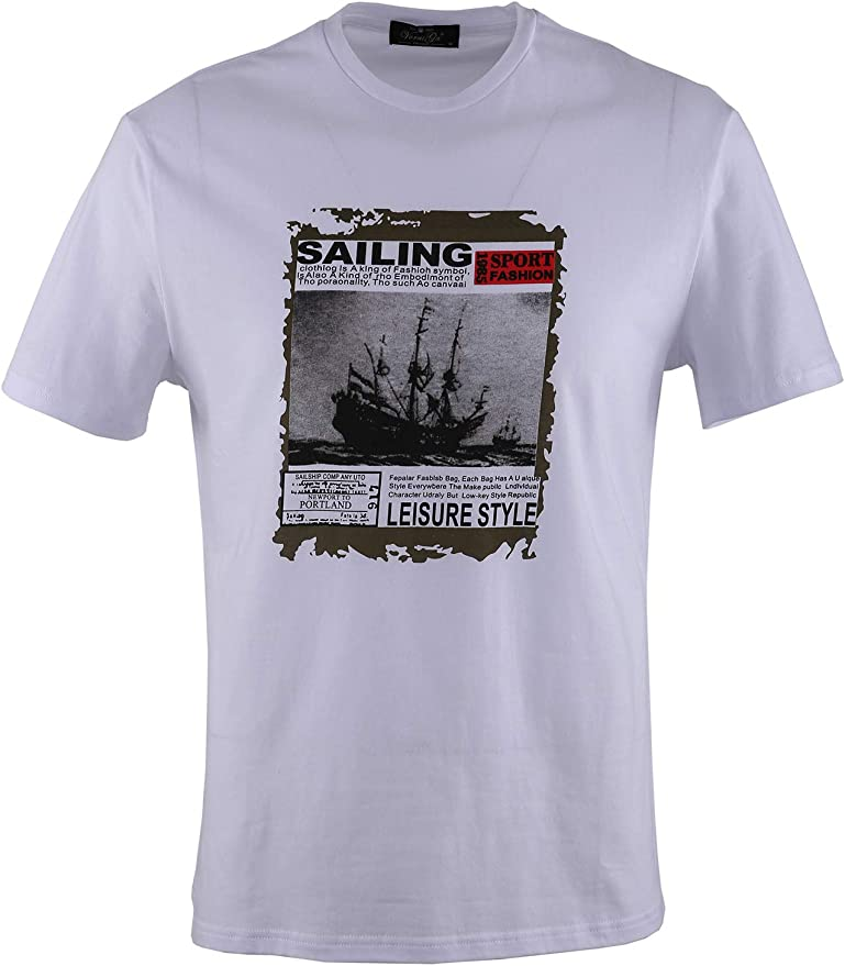 0138Voray Ga Camiseta Hombre algodón Estampado Dibujo Boat: Amazon ...