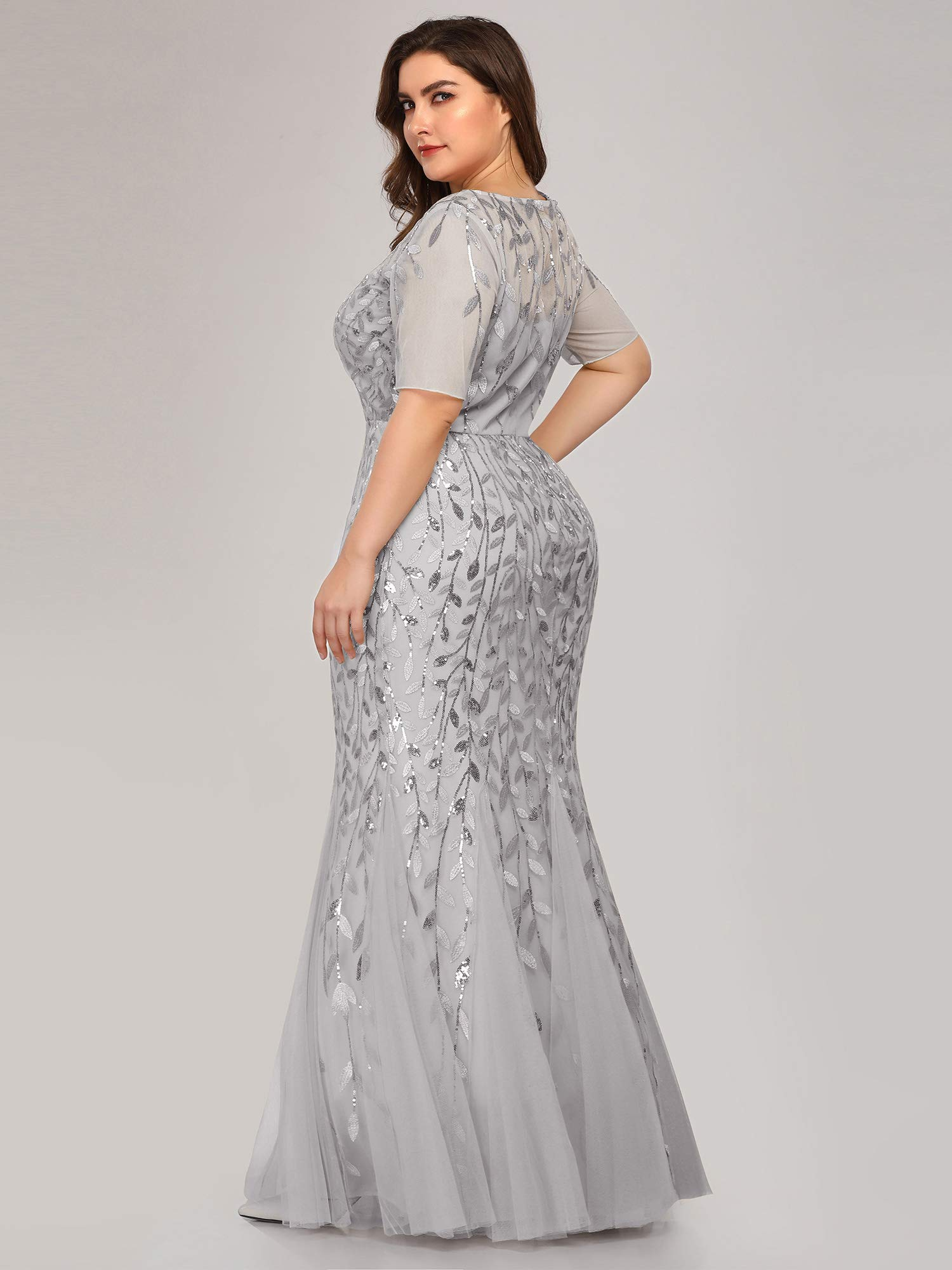 Women\'s Sweetheart Neckline Prom Formal Gown Mermaid Dress Plus Size Silver  US16