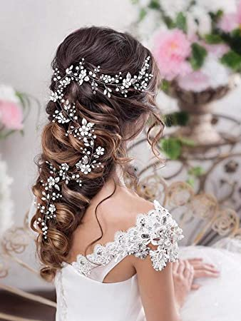 Bridal Headpiece Wedding Hairpiece Crystal Hair Vine Silver Wedding Delicate  Hair Vine Long Pearl Hair Vine Bridal Floral Hair Vine