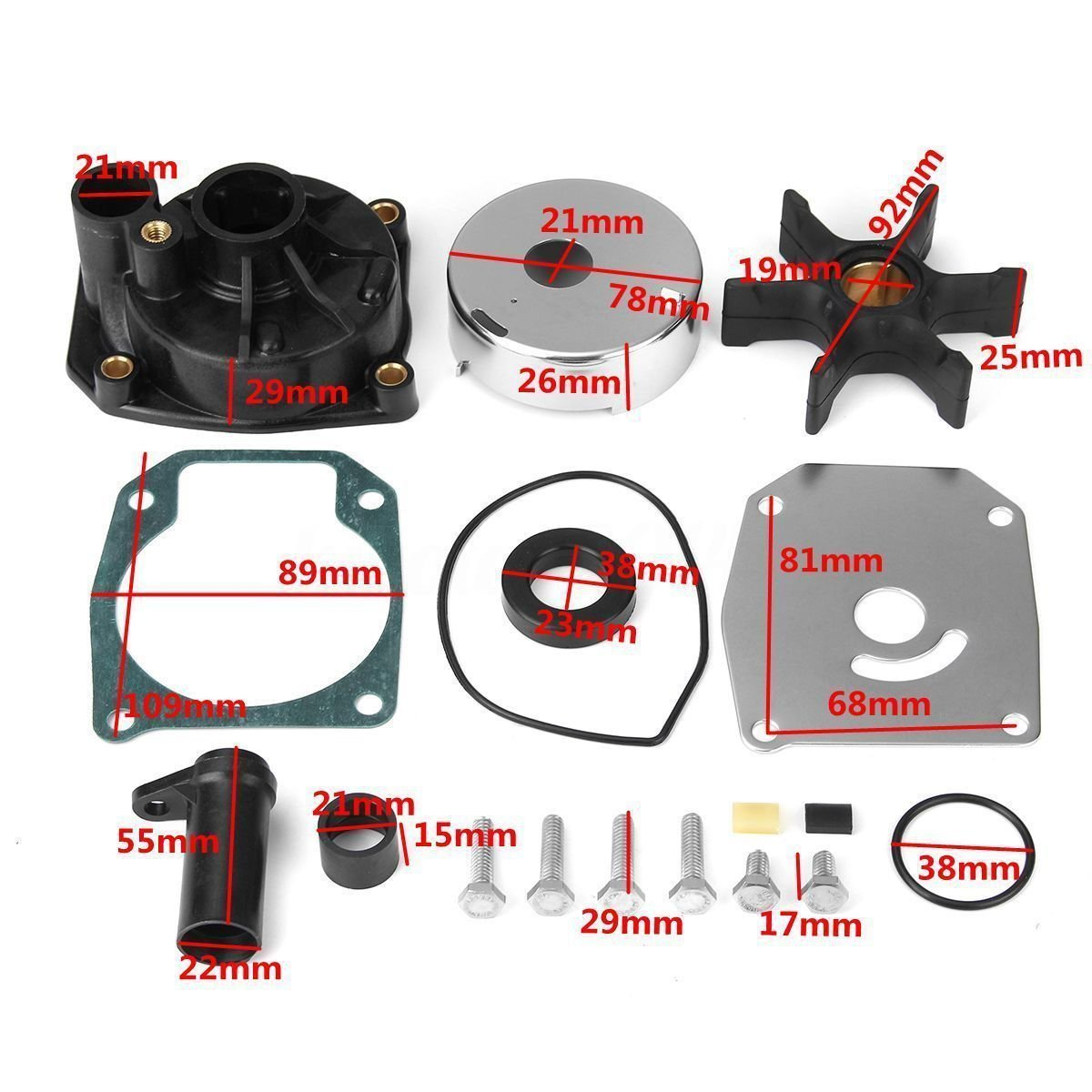 Water Pump Impeller Kit 438597 432955 for Johnson Evinrude 60 65 70 75HP 18-3389