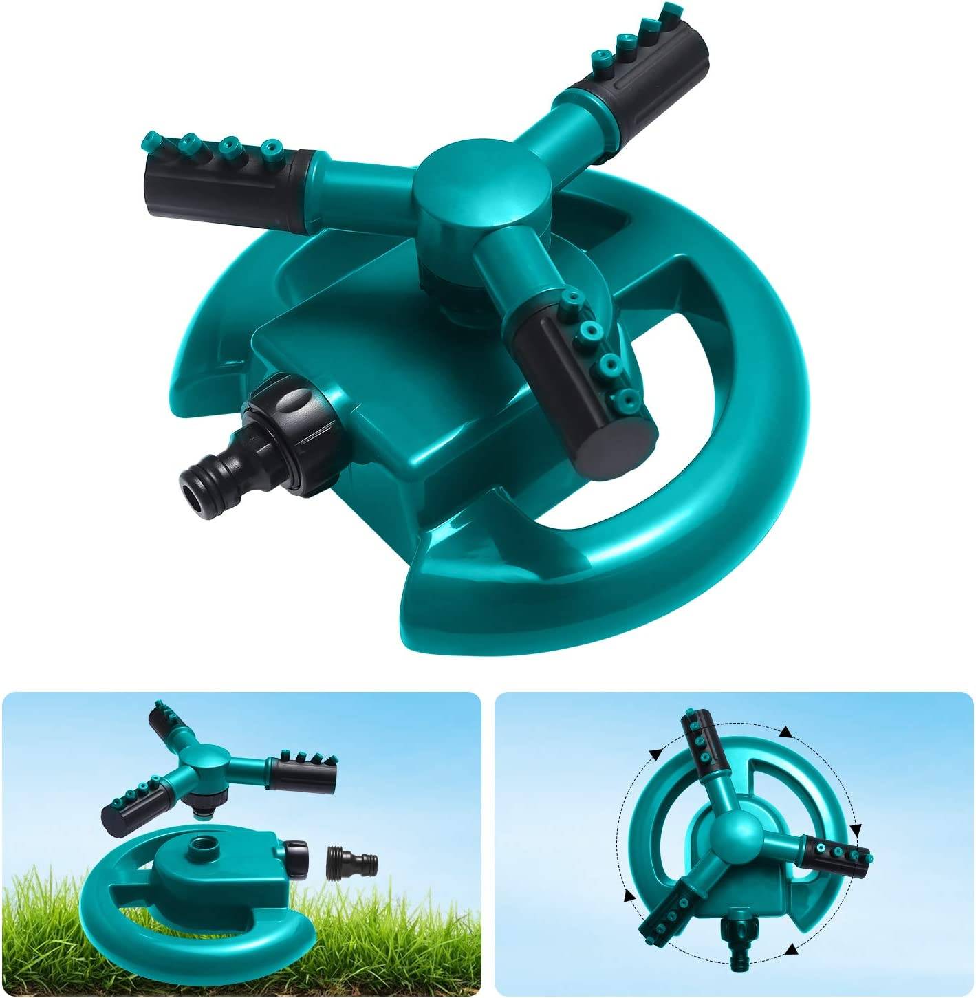 TBFUNNY Garden Sprinkler, 360° Automatic Rotating Lawn Sprinkler, Good Stability, Simple Pipe Connection, Can be Used for Lawn, Garden, Vegetable Garden, Etc